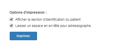 Options d'impression offertes par le module